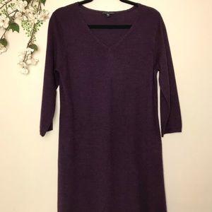 Eileen Fisher Plum Merino Wool Midi Sweater Dress
